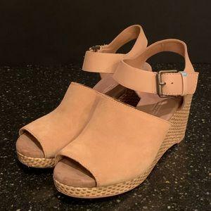Toms Tropez Honey Suede Woven Wedge Sandals